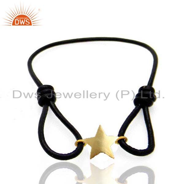 14K Yellow Gold Plated Handmade Star Design Macrame Brass Bracelet Jewelry