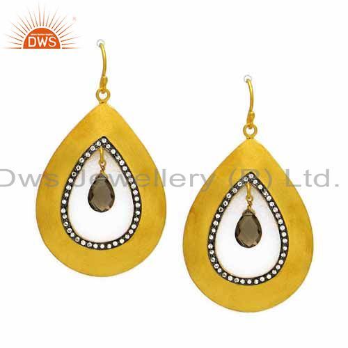 24K Yellow Gold Plated Sterling Silver Smoky Quartz And CZ Teardrop Earrings