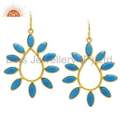 22K Yellow Gold Plated Sterling Silver Turquoise Designer Teardrop Earrings