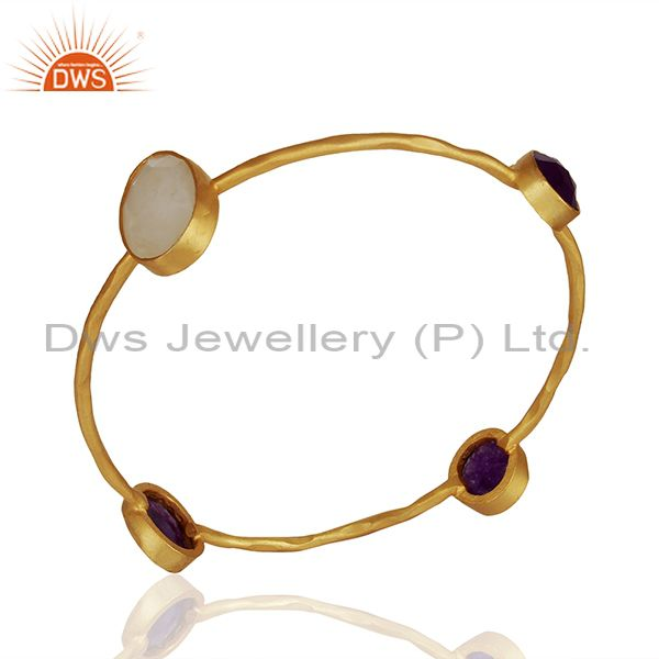 Handmade gold on brass fashion multi gemstone bangle manufacturers