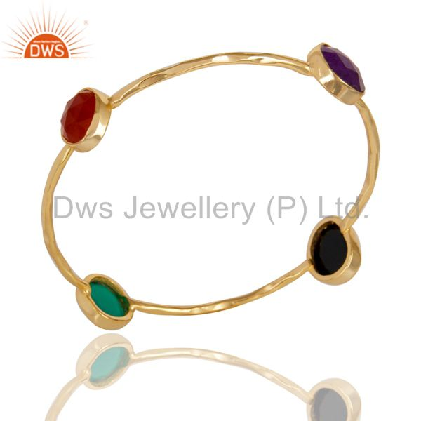 14K Yellow Gold Plated Handmade Red Aventurine & Multi Color Stone Sleek Bangle