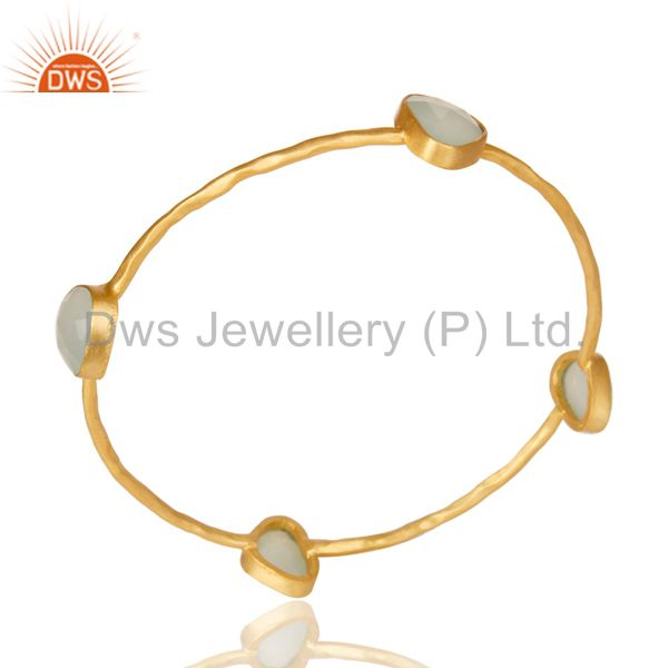 Handmade 22k yellow gold plated natural aqua chalcedony bangle