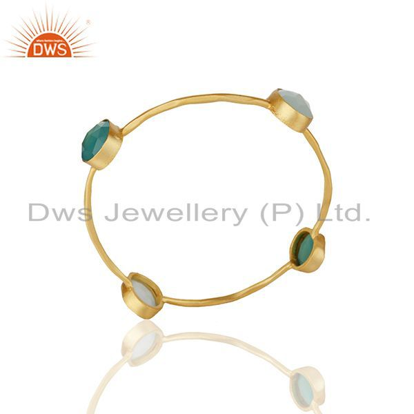 Multi gemstone gold plated brass fashion women bangle wholesale
