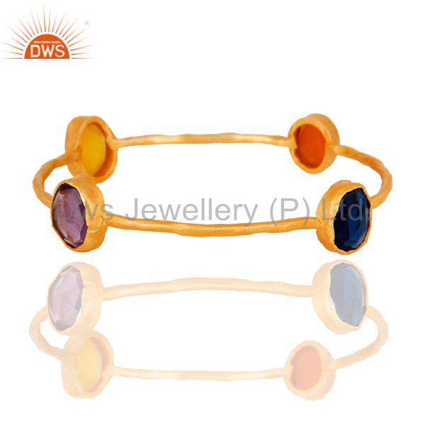 Handmade 22K Yellow Gold Plated Natural Amethyst & Chalcedony Gemstone Bangle