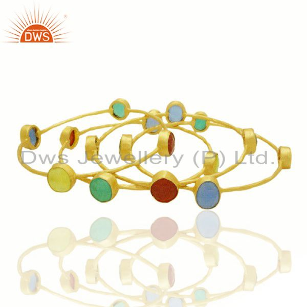 22K Yellow Gold Plated Multi Semi Precious Stone Hammered Stackable Ring