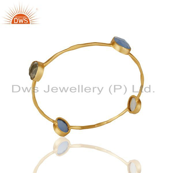 Handmade Gold Plated Brass Fashion Multi Gemstone Women Bangle