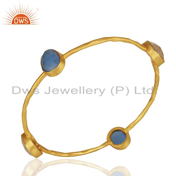 Dyed Chalcedony & Rose Quartz 18K Gold Plated Stackable Brass Bangle Jewellery