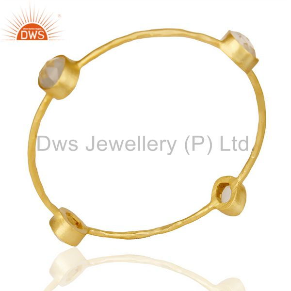 Crystal fourstone 14k gold plated four stone fashion bangle