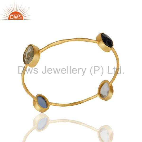 Handmade Gold Plated Brass Fashion Gemstone Women Bangle Wholesale