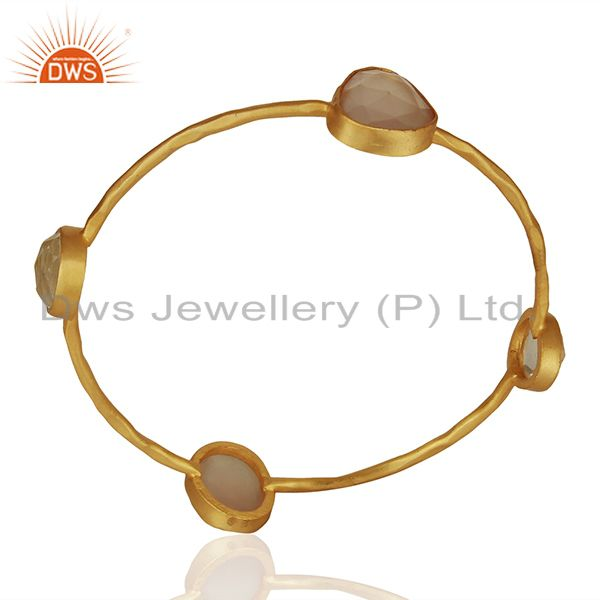Rose Chalcedony Gemstone Gold Plated Fashion Bangle Manufacturers