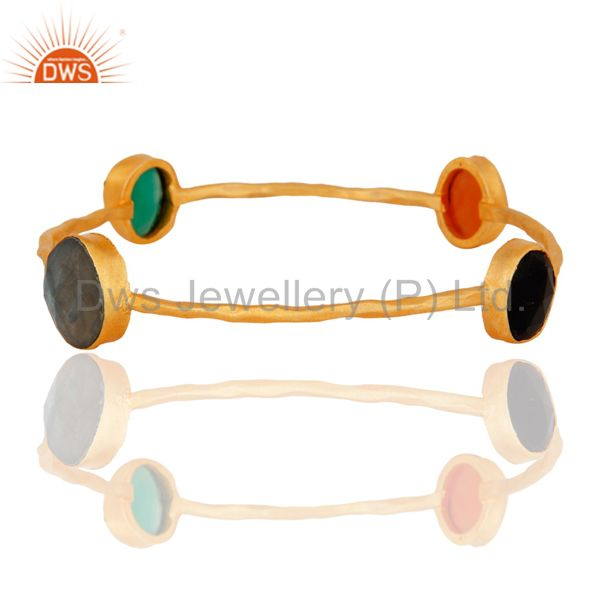 Handmade 18k Yellow Gold Plated Onyx & Labradorite Gemstone Stacking Bangle