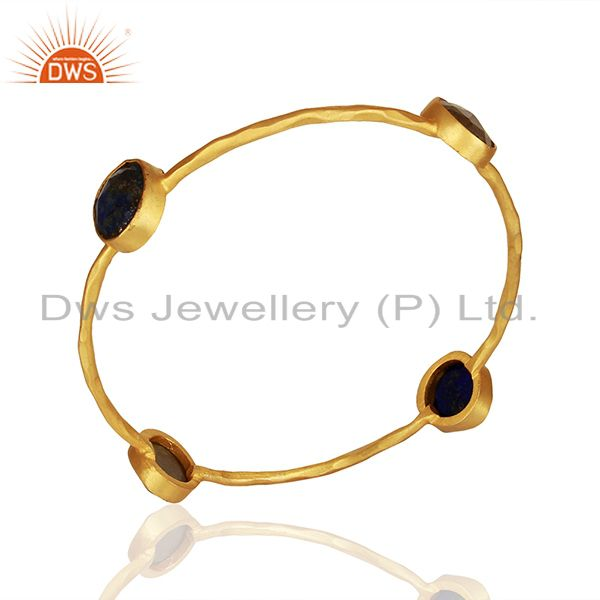 Simple Design Gold Plated Brass Fashion Gemstone Bangle Manufacturers