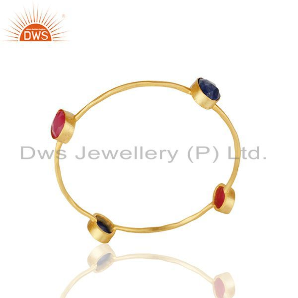 Pink Chalcedony and Lapiz Lazuli Gemstone Fashion Bangle Wholesale