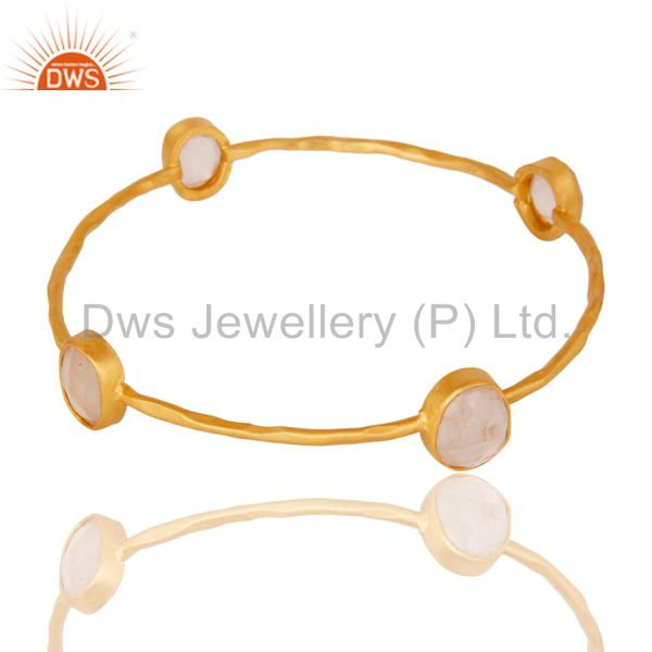 22k yellow gold plated brass natural rose quartz stackable bangle
