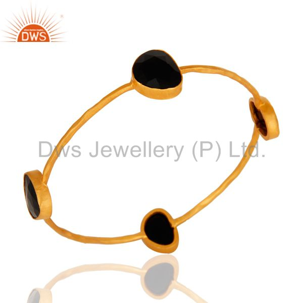 Unique Semi-Precious Gemstone Black Onyx Handmade Bangle With Yellow Gold Plated