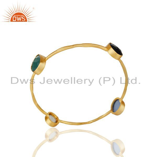 Lemon Topaz and Black Onyx Gemstone Fashion Women Bangle Wholesale
