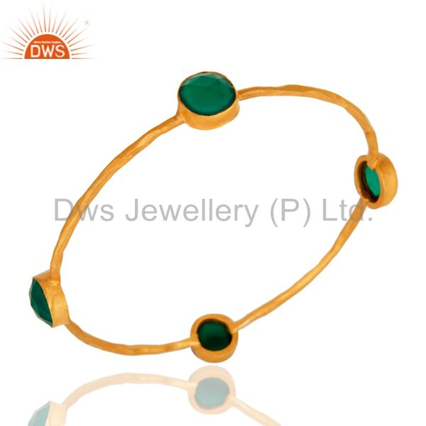18-Karat Yellow Gold Plated On Brass Women`s Fashion Bangle Set With Green Onyx