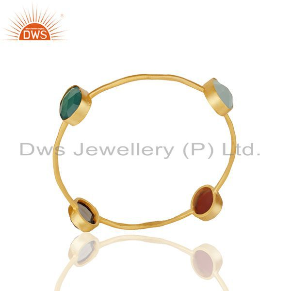 Handmade Bezel Set Multi Gemstone Gold Plated Brass Bangle Wholesale