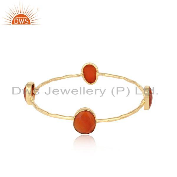 Textured Designer Gold on Fashion Bangle with Multi Red Onyx