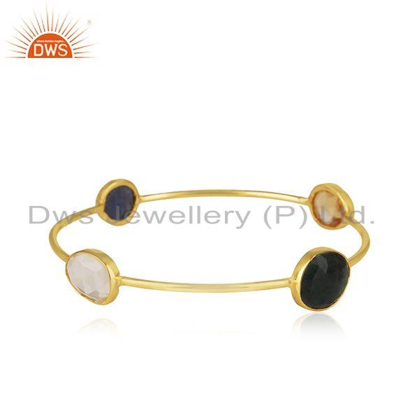Natural multi gemstone handmade gold on 925 silver bangle supplier