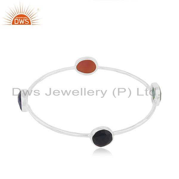 925 Sterling Silver Designer Gemstone Bangle Jewelry