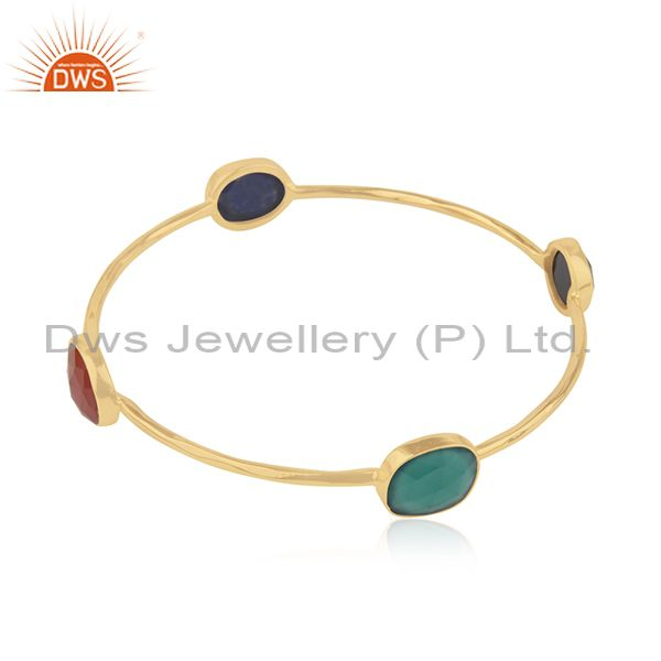 Natural gemstone gold plated silver bangle jewelry supplier