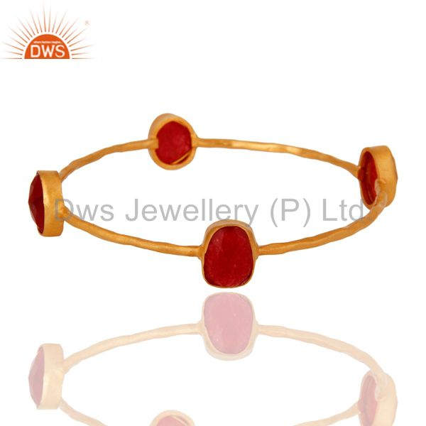 Red aventurine sterling silver stack bangle with gold plated