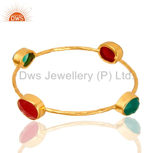 Red Aventurine And Green Onyx Sterling Silver Stack Bangle With Gold Plated