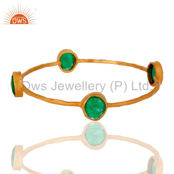 22K Gold Plated Green Aventurine Gemstone 925 Sterling Silver Sleek Bangle