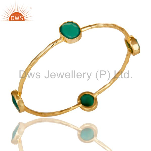 22K Gold Plated Green Onyx Gemstone 925 Sterling Silver Sleek Bangle