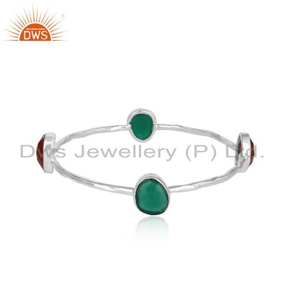Designer Silver 925 Bangle Jewelry with Red and Green Onyx Gemstone