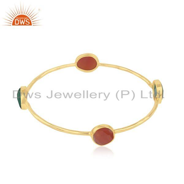 Red and Green Onyx Gemstone 925 Silver Bangle Jewelry