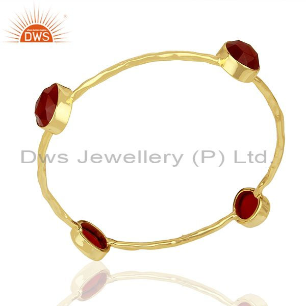 Handmade 24k Gold Plated 925 Sterling Silver Red Aventurine Gemstone Bangle
