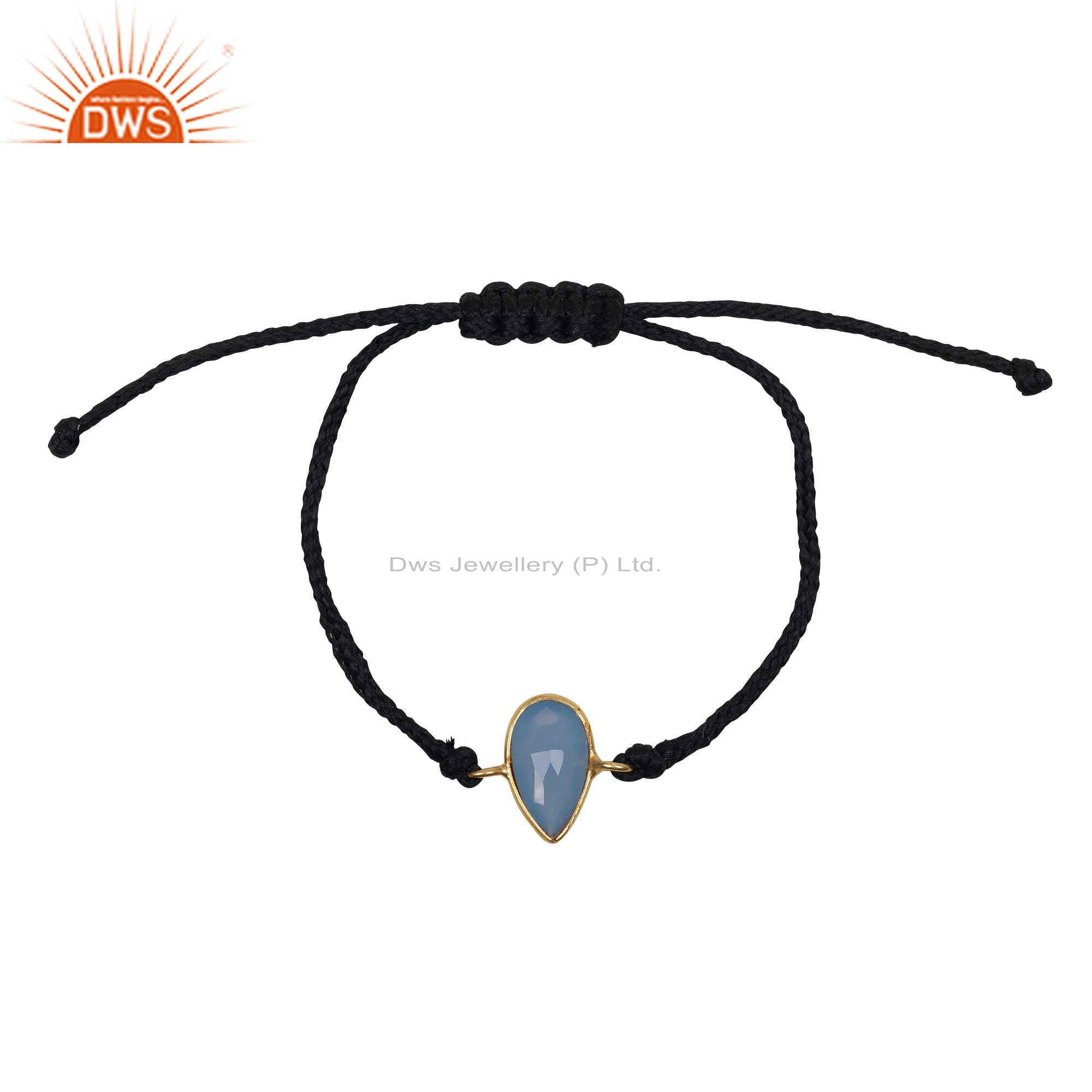 22K Yellow Gold Plated Sterling Silver Blue Chalcedony Drop Macrame Bracelet