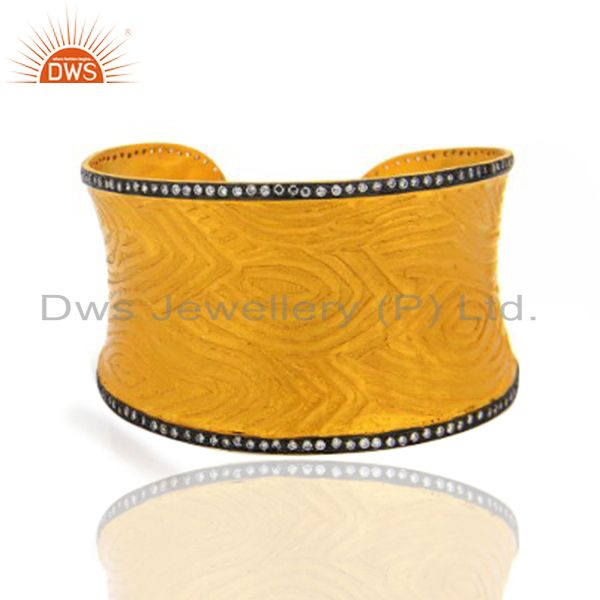 22K Yellow Gold Plated Brass Cubic Zirconia Fashion Cuff Bracelet Wide Bangle