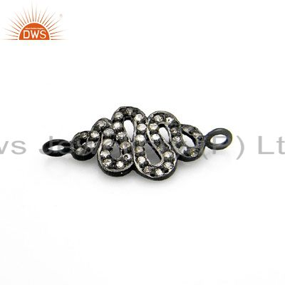 Oxidized Sterling Silver Pave Set Diamond Snake Charms Finding Jewelry