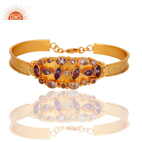 18K Yellow Gold Over Sterling Silver Amethyst Gemstone Bangle / Bracelet