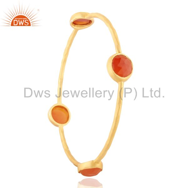 18k yellow gold plated carnelian gemstone sterling silver bangle