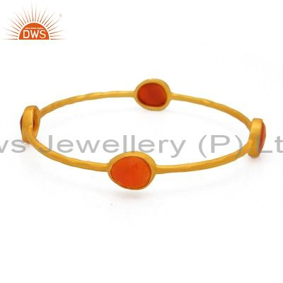 18k gold yellow on sterling silver red aventurine gemstone bangle