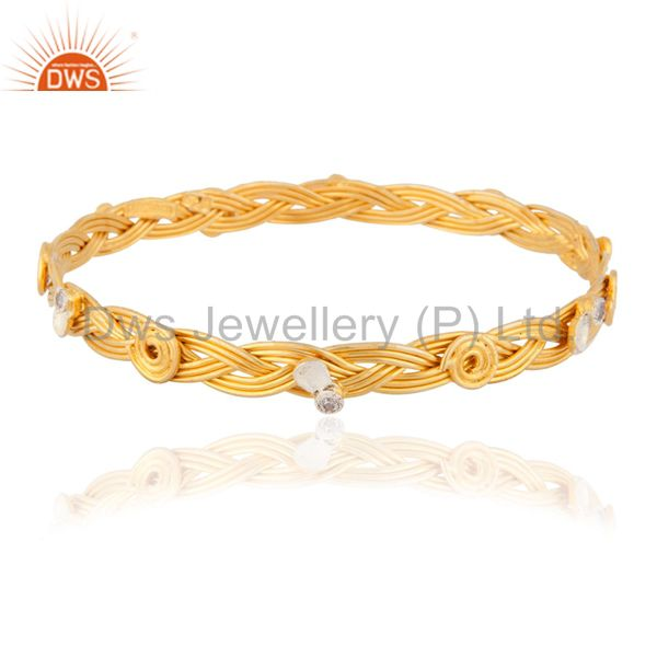 Sterling Silver Wire Wrapped Handmade 24 kt. Gold-Plated White Zircon Bangle Br