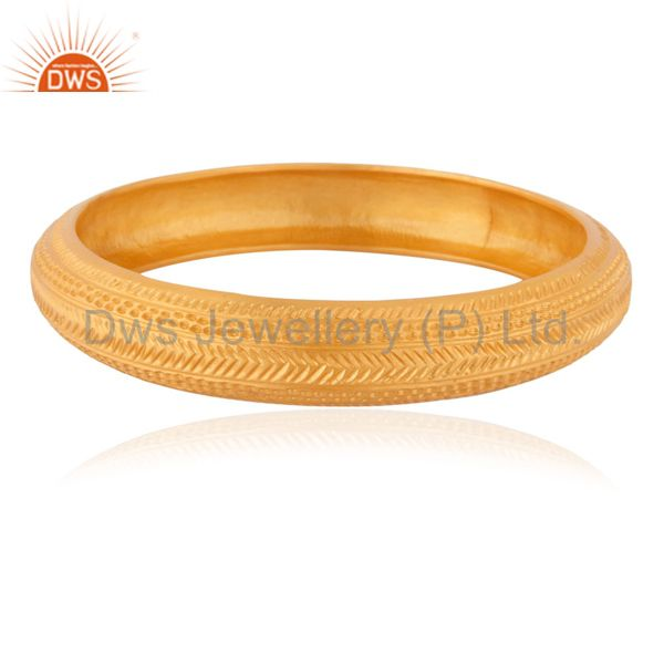 18k gold on bangles solid 925 silver plain round hammered texture