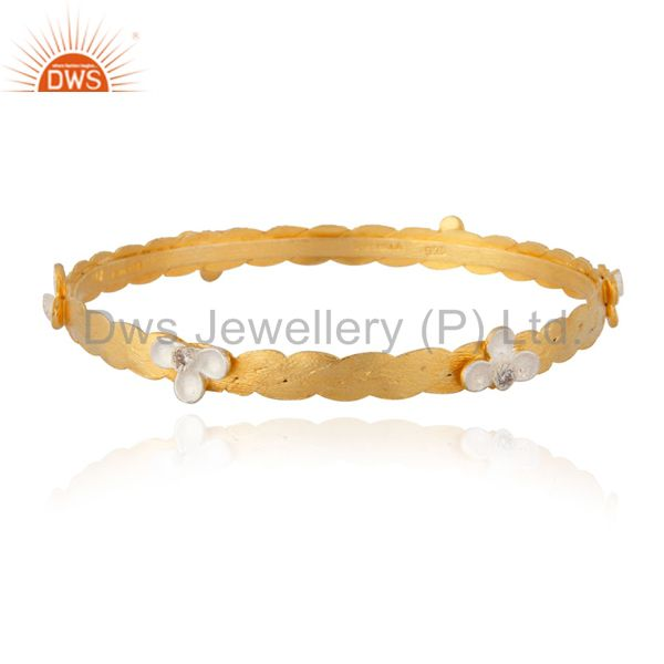 Fascinate 18K Yellow Gold Plated 925 Silver Cubic Zircon Handmade Bangle
