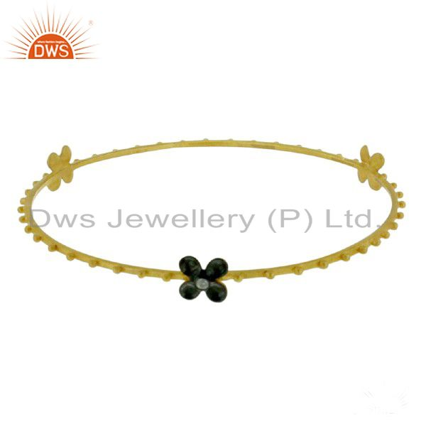 18K Yellow Gold Plated Sterling Silver Cubic Zirconia Fashion Bangle Bracelet