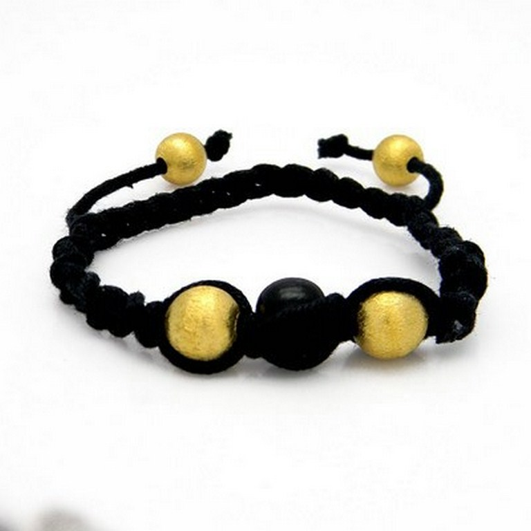 18K Yellow Gold Plated Sterling Silver Spheres Black Thread Macrame Bracelet