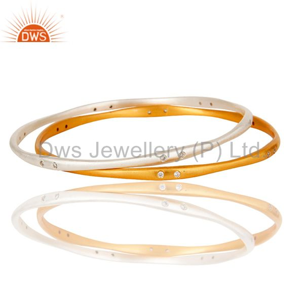 18K Yellow Gold Plated Brass Cubic Zirconia Square Fashion 3 Set Bangle/Bracelet