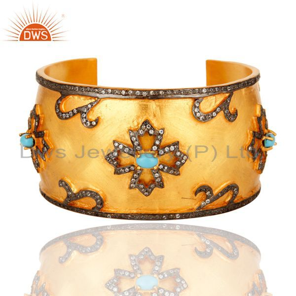 Turquoise And CZ Yellow Gold Plated Brass Wide Bangle Cuff Bracelet
