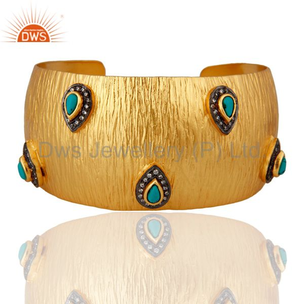 Gold Plated 925 Sterling Silver Turquoise Textured Designer Cuff Bracelet Bangle