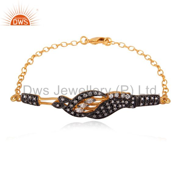 Hot exquisite 24k gold plated womens party cz bracelet chain fashion jewelry