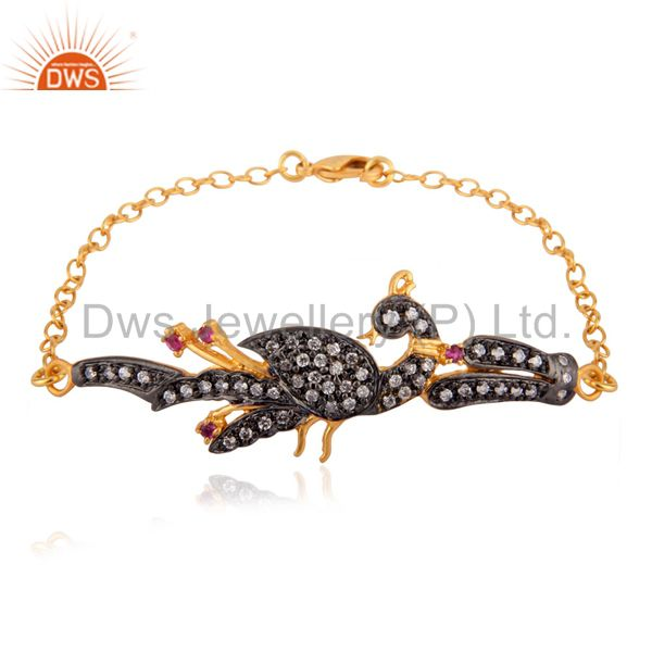 Lady Fashion Colorful Zircon Bracelet Peacock Designer Rhinestones Jewellery