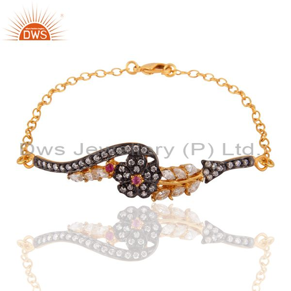 Nice 18k gold plated bangle women white cz flower design chain bracelet jewelry